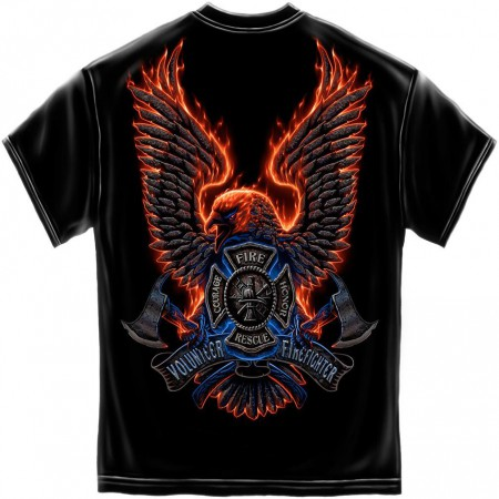 Volunteer Firefighter Courage Emblem T-Shirt - Black