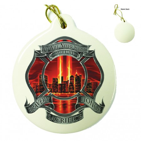 Red High Honor Firefighter Tribute Porcelain Ornament