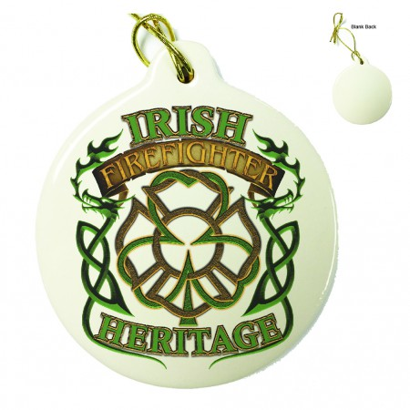 Irish Firefighter Heritage Porcelain Ornament