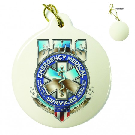 EMS Badge Of Honor Porcelain Ornament