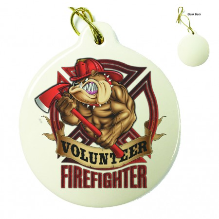 Firefighter Fire Volunteer Dog Porcelain Ornament