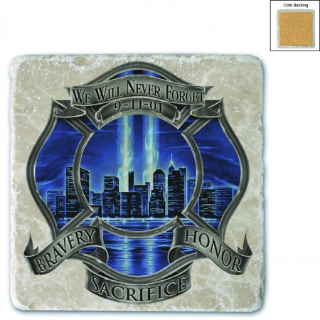 911 Firefighter Blue Skies We Will Never Forget Stone Coaster
