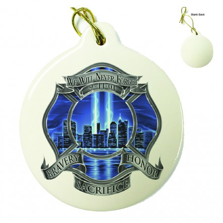 911 Firefighter Blue Skies We Will Never Forget Porcelain Ornament
