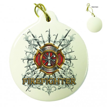Firefighter Pikes Porcelain Ornament