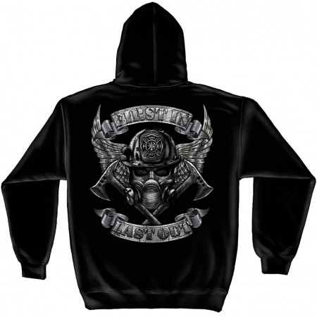 Firefighter First In Last Out Foil Black Hoodie