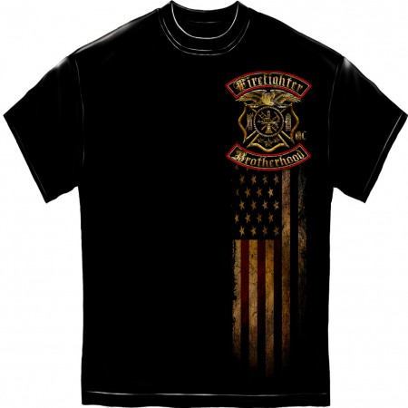 Firefighter Brotherhood Foil Black T-Shirt