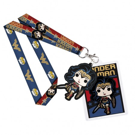 Wonder Woman Blue Funko Pop Keychain Lanyard