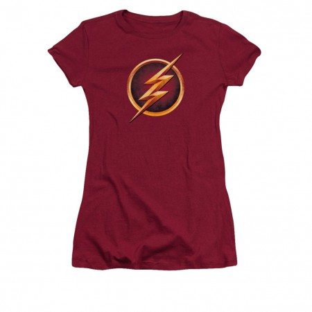The Flash Chest Logo Red Juniors T-Shirt