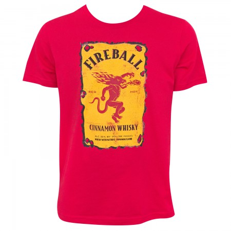 Fireball Men's Red Bottle Label Logo T-Shirt