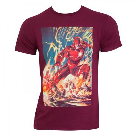 The Flash Men's Burgundy Comic Panel T-Shirt