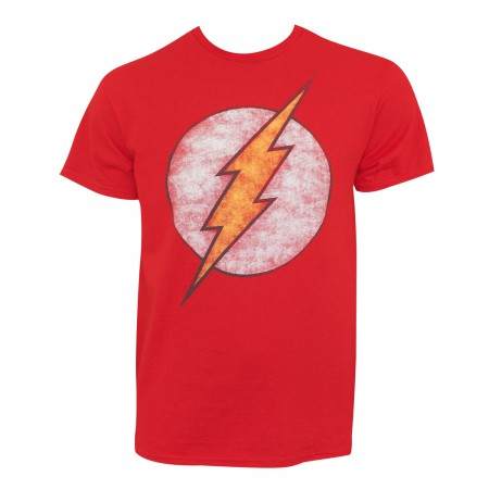 The Flash Men's Red Distressed Logo T-Shirt