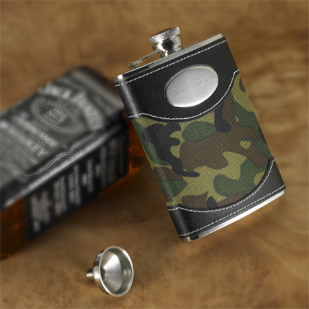 Personalized 8 Ounce Camo Custom Flask