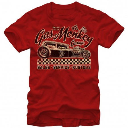 Gas Monkey Checkered Flag Men's Red T-Shirt