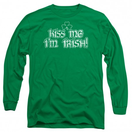 St. Patrick's Day Kiss Me I'm Irish Green Long Sleeve T-Shirt