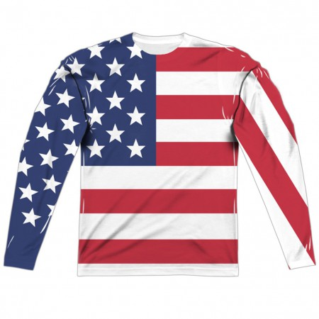 American Flag Patriotic Men's Long Sleeve Front and Back Print Shirt