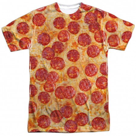 Slice of Pepperoni Pizza Front and Back Print Men's T-Shirt