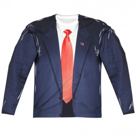 Presidential Suit and Tie Long Sleeve Men's Costume Shirt