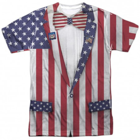Patriotic Uncle Sam Suit Front and Back Print Men's American Flag T-Shirt