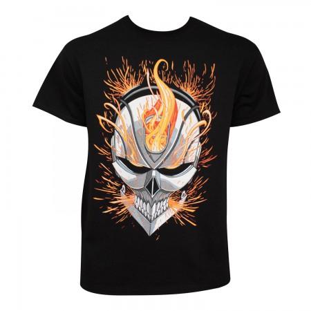 Ghost Rider Men's Black Flaming Skull T-Shirt