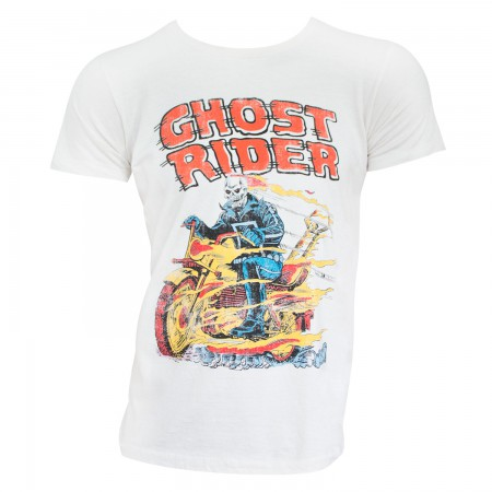 Ghost Rider Men's White Hell On Wheels T-Shirt