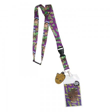 Guardians Of The Galaxy Purple Groot Lanyard