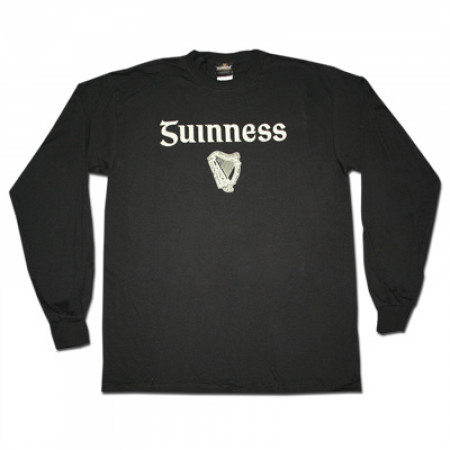 Guinness Gaelic Label Long Sleeve Black Graphic Tee Shirt