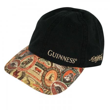 Guinness Black Adjustable Vintage Label Washed Hat