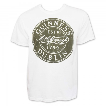 Guinness Men's White Bottle Cap T-Shirt
