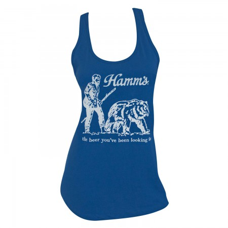 Hamm's Beer Bear Racerback Women's Blue Tank Top