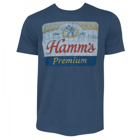 Hamm's Premium Men's Blue Distressed Logo T-Shirt