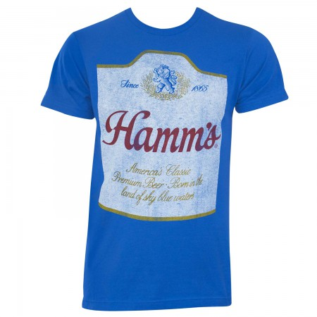 Hamm's Men's Blue Faded Label T-Shirt