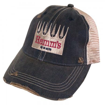 Hamm's Beer Logo Retro Brand Brown Mesh Mens Trucker Hat