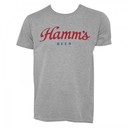 Hamm's Men's Grey Script Logo T-Shirt