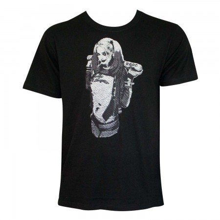 Harley Quinn Men's Black Stitched T-Shirt