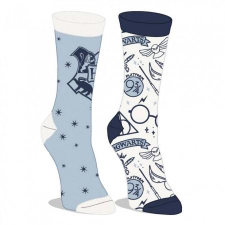 Harry Potter Hogwarts White And Blue 2 Pack Junior Crew Socks