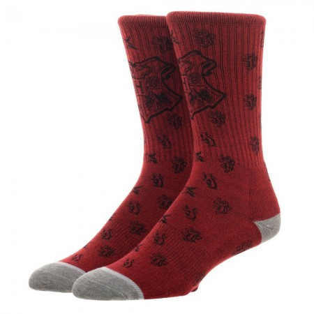 Harry Potter Hogwarts Water Print Red Men's Crew Socks