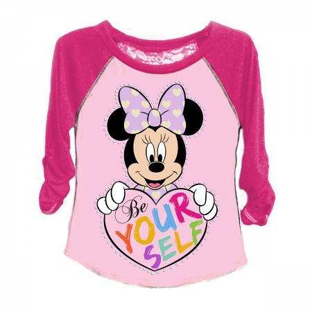 Disney Minnie Mouse Be Yourself Raglan Sleeve Girls 7-16 T-Shirt
