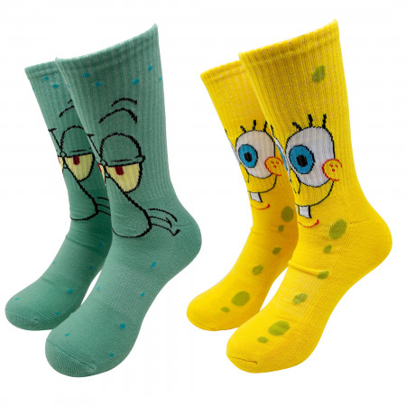 SpongeBob SquarePants and Squidward 2-Pair Pack Character Socks