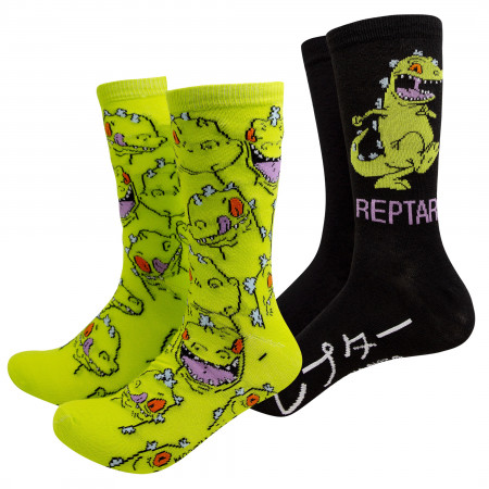 Rugrats Green And Black Reptar 2-Pack Crew Socks