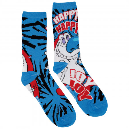 Ren And Stimpy 2-Pack Black and Blue Crew Socks