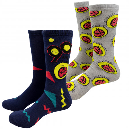 Nickelodeon 2-Pack Black and Grey All That Logo Crew Socks