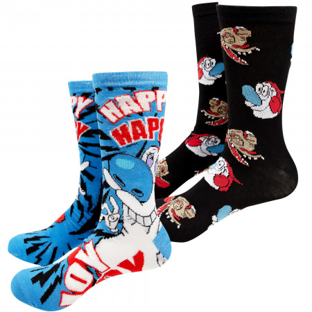 Ren And Stimpy Blue And Black 2-Pack Crew Socks