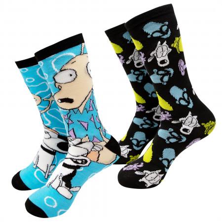 Rocko?s Modern Life Black And Blue 2-Pack Crew Socks