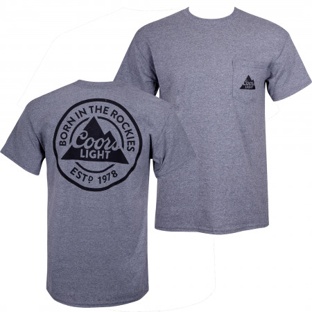 Coors Light Men's Grey Pocket T-Shirt