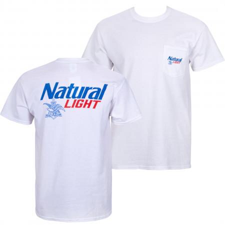 Natural Light White Pocket Tee Shirt