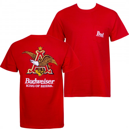 Budweiser Men's Red Vintage Logo Pocket T-Shirt