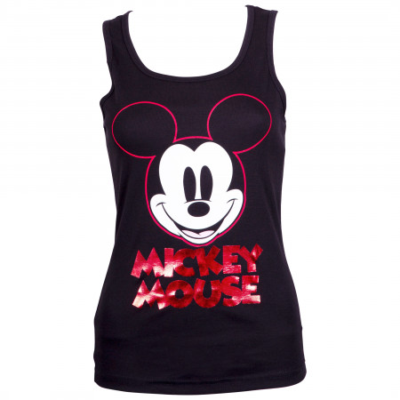 Mickey Mouse Women's Black Red Foil Tank Top