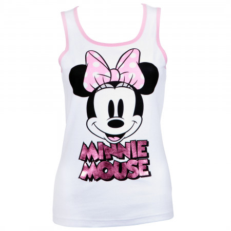 Minnie Mouse Women's White Pink Foil Tank Top