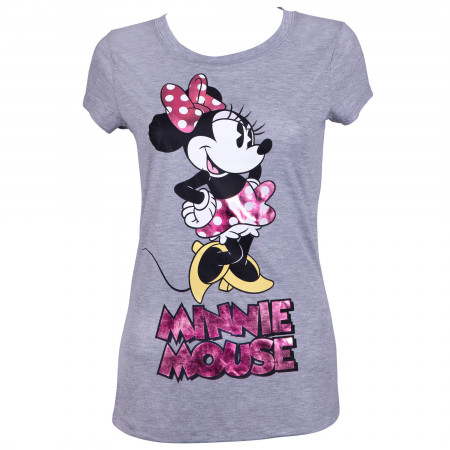 Minnie Mouse Women's Grey Pink Foil T-Shirt