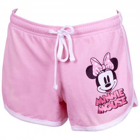Minnie Mouse Ladies Pink Foil Logo Shorts